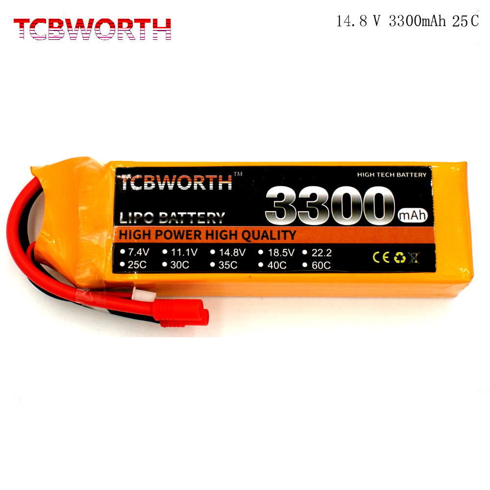 TCBWORTH 4S 14.8V 3300mAh 25C RC LiPo battery For RC Airplane Helicopter Quadrotor Drone Car boat Truck Remote control ModelTCBWORTH 4S 14.8V 3300mAh 25C RC LiPo battery For RC Airplane Helicopter Quadrotor Drone Car boat Truck Remote control Model
