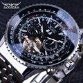 Jaragar Авиатор серии серебро Нержавеющая сталь Toubillion дизайн шкала циферблат Мужские часы лучший бренд класса люкс автоматические часы