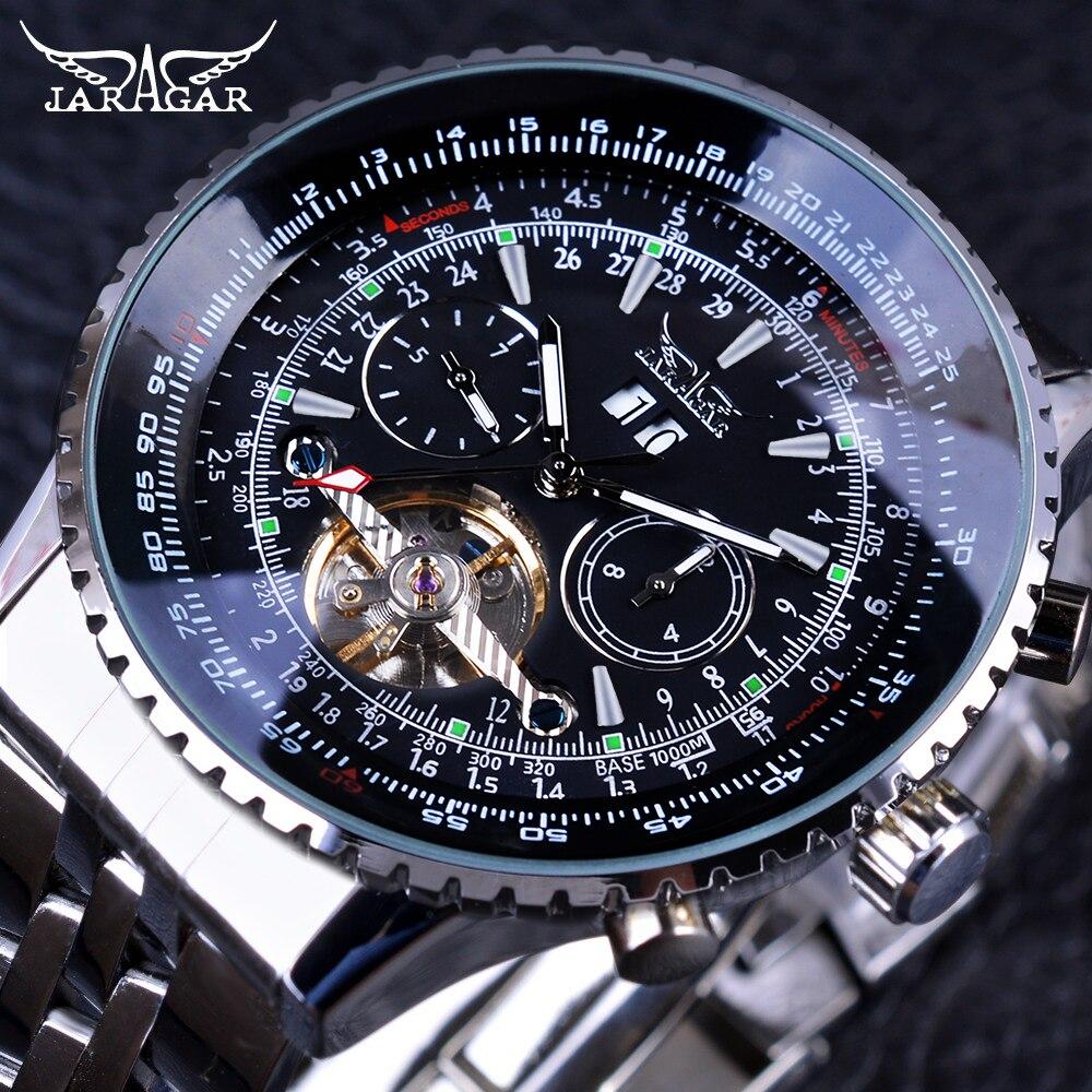 Jaragar طيار سلسلة الفضة الفولاذ المقاوم للصدأ Toubillion تصميم مقياس الهاتفي للرجال ساعات الأعلى العلامة التجارية الفاخرة التلقائي ووتش ساعة-في الساعات الميكانيكية من الساعات على