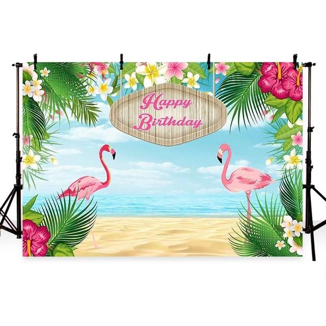 Photography Backdrop Tropical Flamingo Flower Summer Sea