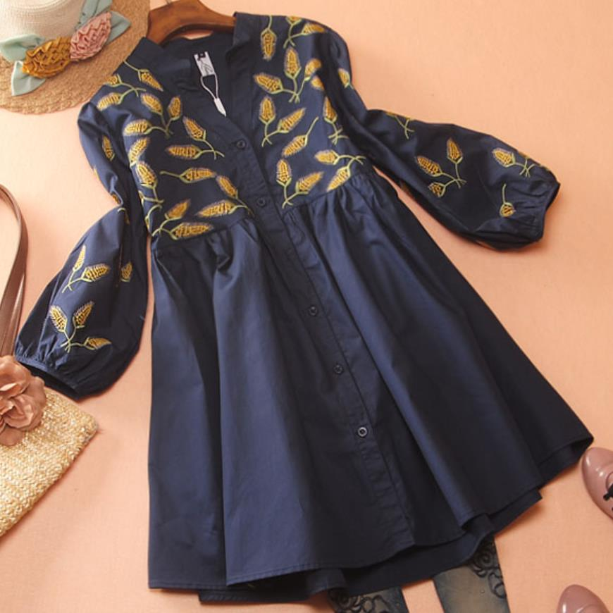 High Waist Embroidery Flower Long Shirt Women V-neck Spring Autumn Lantern Sleeve A-LINE Top Blouse