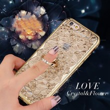 3D Luxury Gold Diamond Flower Cover Plus Crystal Ring For iPhone 6/6s