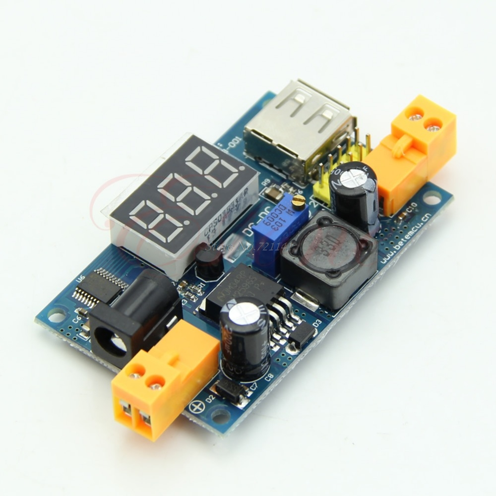 LM2596 DC-DC Adjustable Step-Down Power Converter Module+LED Voltmeter+USB Port Dropship