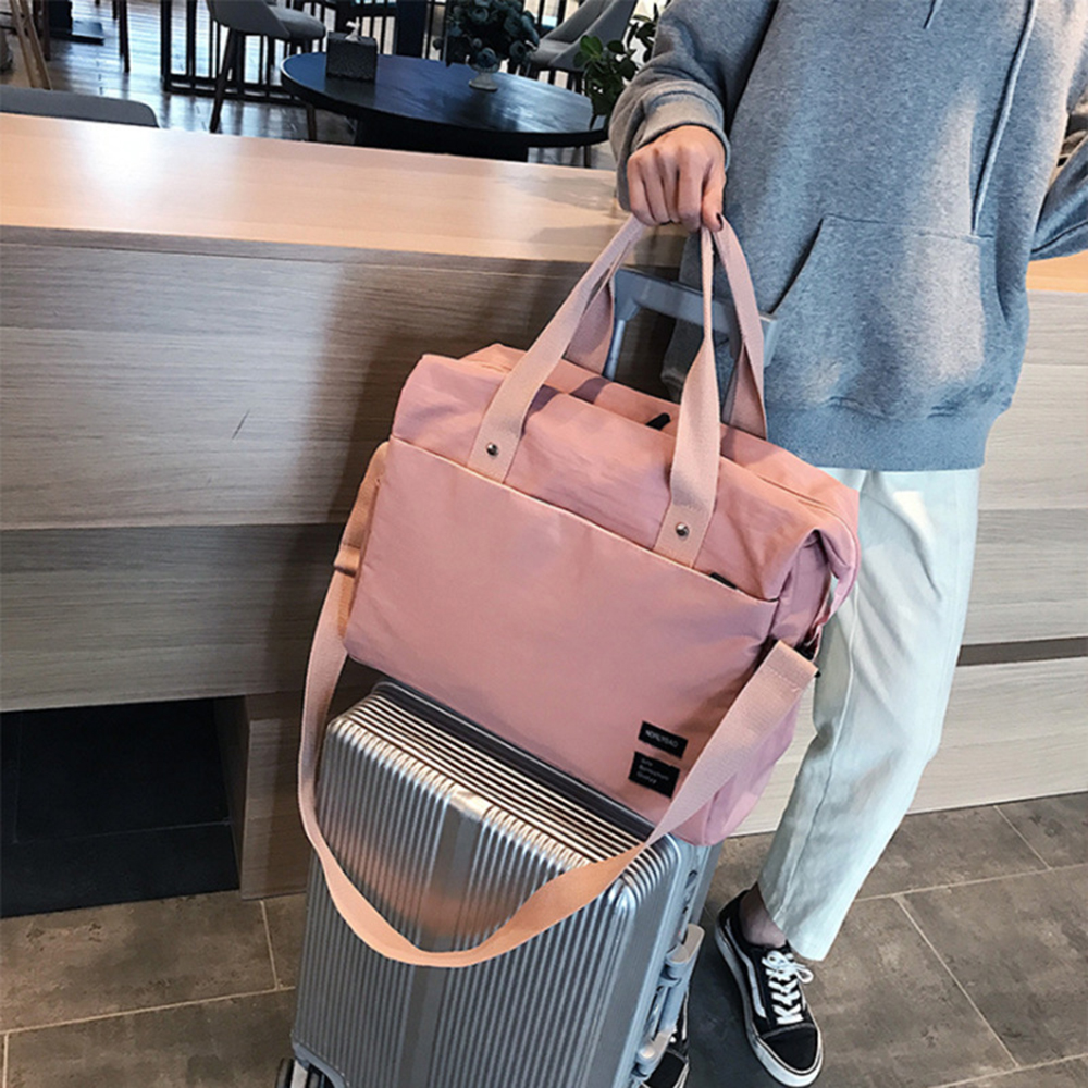 Fashion Women Large Travel Bag Handbag Crossbody Training Gym Pink Duffle Bags Oxford Overnight Bag Soft Organizers Waterproof