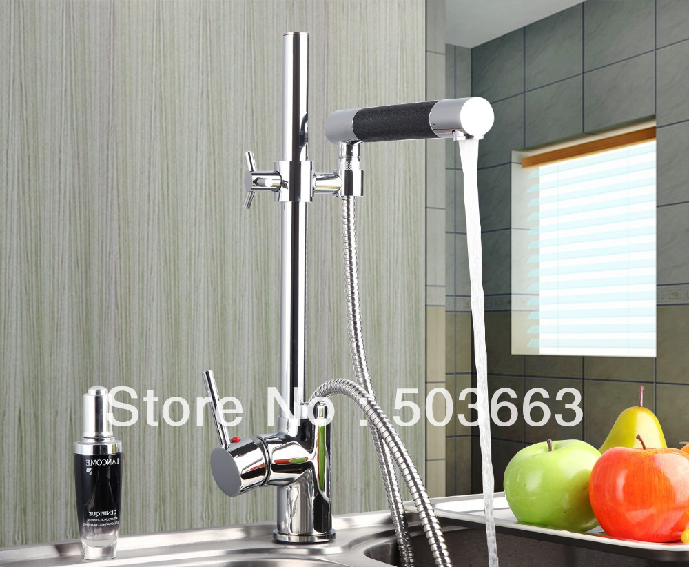 цена на Luxury Chrome Brass Water Kitchen Faucet Swivel Spout Pull Out Vessel Sink Single Handle Deck Mounted Mixer Tap MF-303