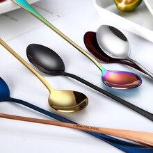 Новинка, круглая ложка с длинной ручкой, цветная ложка с длинной ручкой, столовые приборы, принадлежности для кофе, напитков, кухонный гаджет, чайные ложки