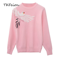 Womens Autumn Sweater Fashion Bird Embroidery 2018 Ladies Casual Slim Knitted Tops Long Sleeve O neck Female Black Pink Pullover