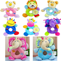 0-12 Months Soft Baby Toy Animal Elephant Lion Bear Deer Cattle Shaped Catoon Hand Bell Ring Rattles Kid Plush Educational Toys