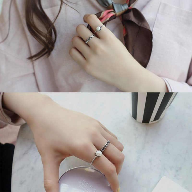 2 pc เปิดชุดแหวนหญิง Vintage ถัก Pearl แหวนเด็กผู้หญิงแฟชั่น Circlet ชุดแหวนนิ้วมือโปรโมชั่น SP018
