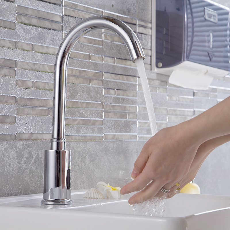Automatic infrared Sensor Tap 38cm High for Kitchen Basin Hot & Cold Water Swiveling Sensing faucet DC6V Baterry Power 100% copper cold and hot water mixer sense faucet automatic sensor faucets basin hand washer dc6v ac110 220v dona4215