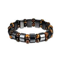 Health Care Magnetic Bangle Natural Black Stone Magnetic Bracelet Stretchy Unisex Bracelet For Men Women