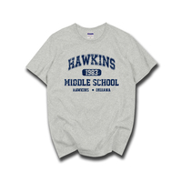 STRANGER THINGS Hawkins High School Short Sleeve T Shirts Tee Tshirts 100 Cotton Jersey Joggers Free