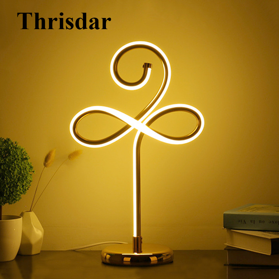 Thrisdar Creative Simple Line Dimmable LED Table Lamps Iron Acrylic Bedroom Bedside Desktop Light Hotel Study Reading Desk Light thrisdar dimmable 3d acrylic led night light 3d owl butterfly bedroom bedside retro wooden table lamps christmas birthday gift