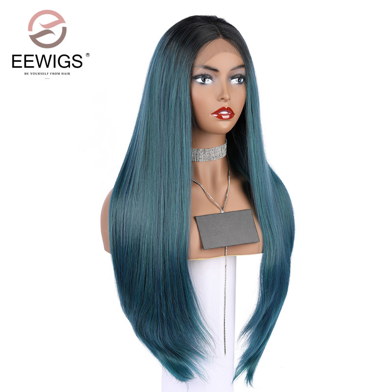 Synthetic Lace Front Wig Natural Long Silky Straight Wigs Black Root Ombre Blonde 2 Tones Color Wigs Middle for Women Heavy Wigs