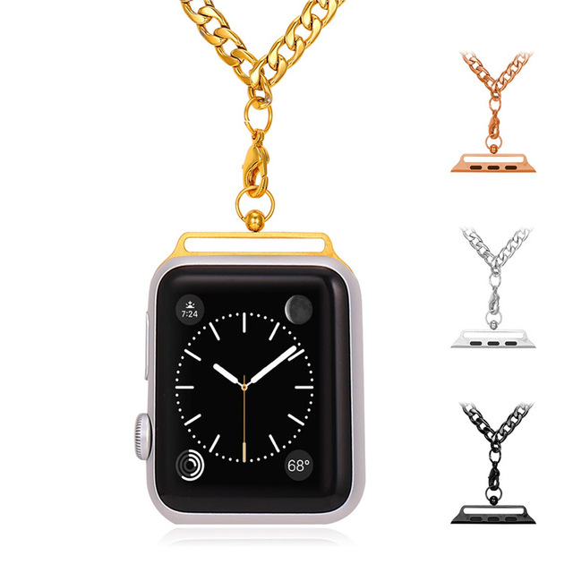 Bandmax Watch Strap Chain For Apple Watch Series 1/2 38mm/42mm Yellow Gold/Rose Gold/Black Gun Plated Stainless Steel Necklace