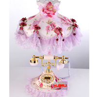 Elegant style lace rose flower table lamp shade with a ceramic telephone table light best wedding gift