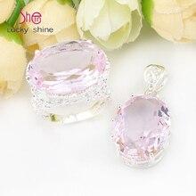 Top jewelry special oval rosa sintético topaz gem colgantes anillos de sistemas de la joyería de ee. uu. rusia canadá australia pendientes de la boda