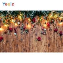 Yeele Photo Backgrounds For Photography Flowers Rose Petals Bulb Light Wooden Floor Baby Pet Background Studio