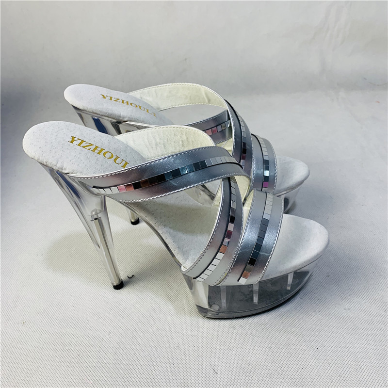 Sexy women s dancing shoes with 15cm silver and fashionable platform ... f23cac85fdcf