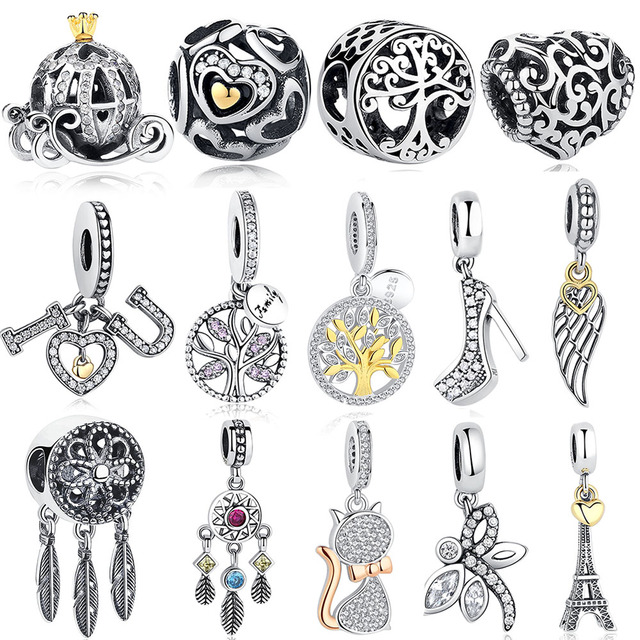 DIY Silver Charm Fit Original Pandora Bracelet Beads 925 Sterling Silver Love Dangle Charm Crystal Heart ,Flower,Tower,Tree Bead