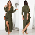 2017 new women dresses sexy dress in Europe and America loose long-sleeved dress