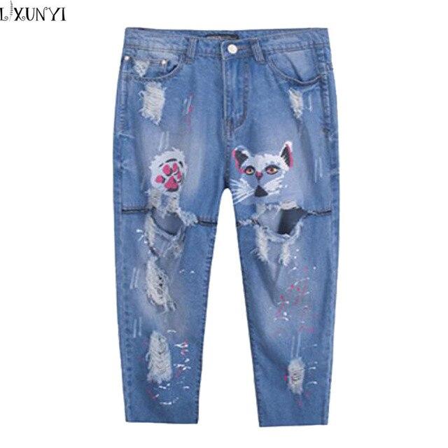 Summer New Ripped jeans for Women Plus Size Hole Capri Pants loose Cat Printing Denim Pants jeans mujer Korean Cartoon trousers