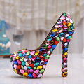 Cute Candy Color Wedding Shoes Bridal Luxury Crystal Pumps Rhinestone High Heel Shoes Handmade Platform Shoes Plus Size 43