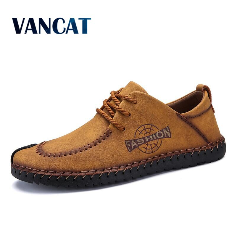 VANCAT 2018 New Spring Comfortable Men Casual Shoes Loafers Men Shoes High Quality Leather Shoes Men Flat Moccasins Shoes brand 2018 new comfortable casual shoes loafers men shoes high quality driving shoes fashion trends spring and autumn bh a0054