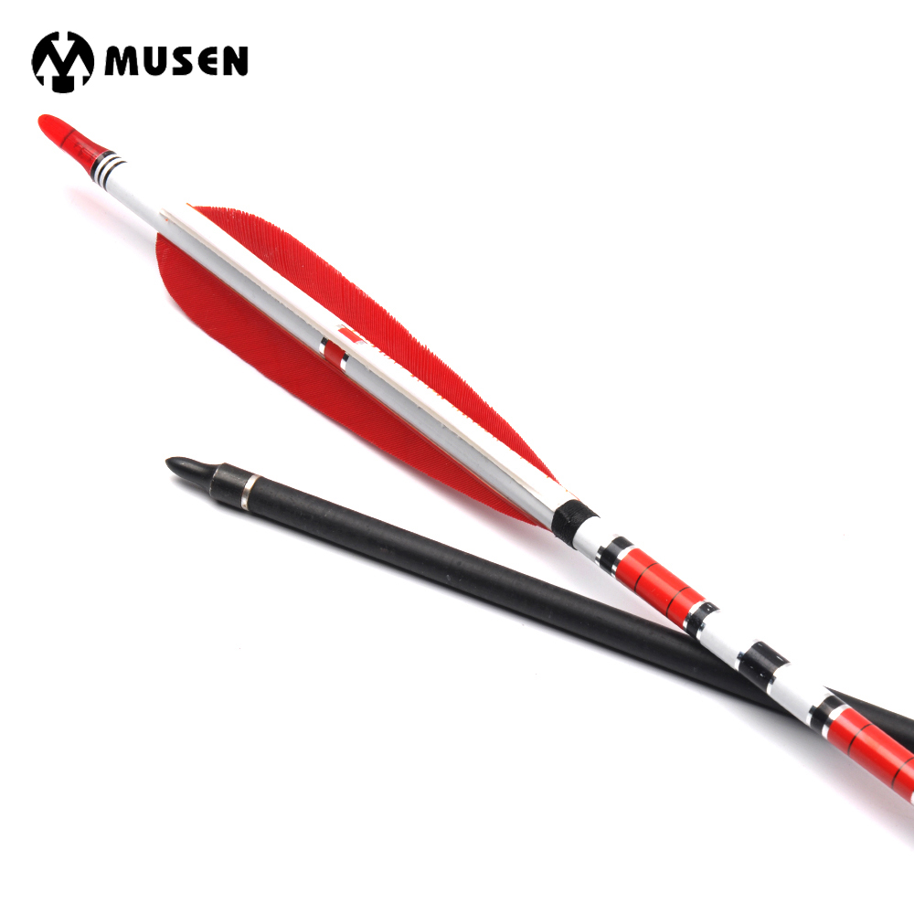 6/12/24pcs 80cm Spine 500 Carbon Arrows OD7.6mm ID6.2mm with 2 Red and 1 White Turkey Feather for Hunting Shooting Archery