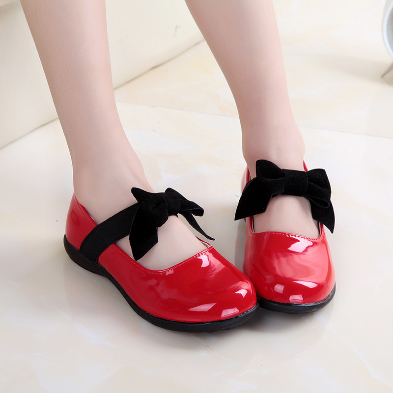 Girls Red Dress Shoes Black Bow Kids Party Faux Leather Shoes For