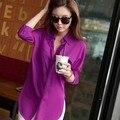 2016 Moda Verão Mulheres Blusa Manga Comprida Chiffon Camisa Turn-down Collar Casual Tops Soltos