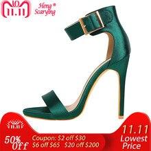 abf1068dd Women Newest Classic Satin 11cm High Heels Fetish Quality Silk Sandals  Female Gladiator Summer Cheap Shoes
