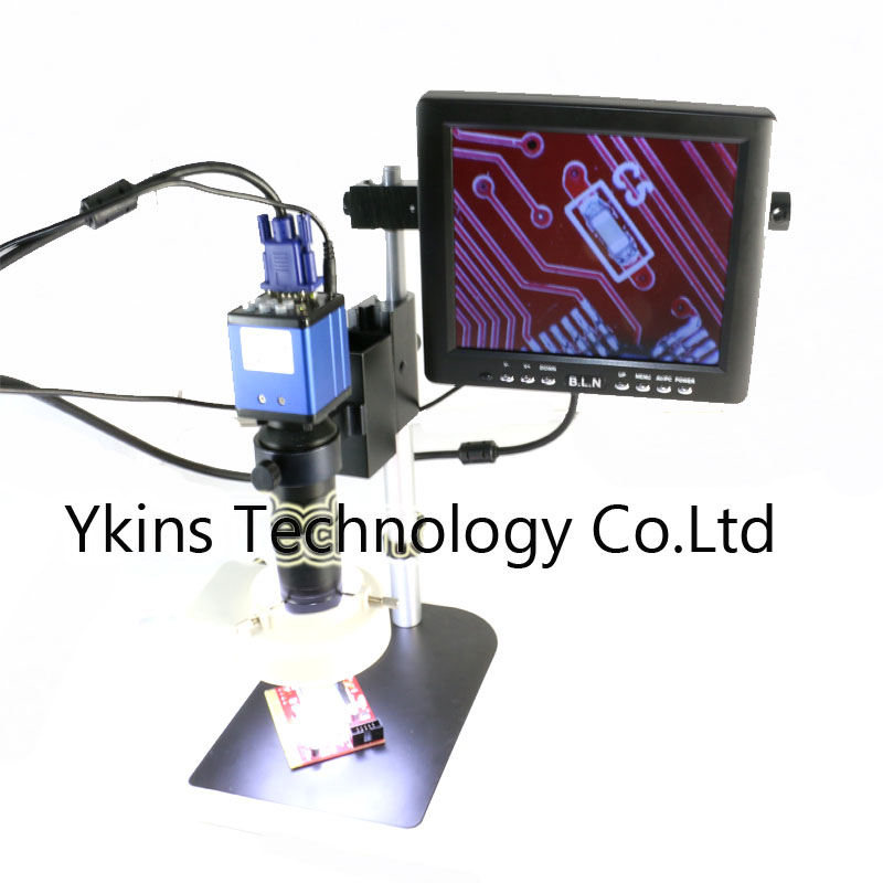 VGA /LED Industry Video Microscope Camera with power supply+130X C-mount +56 Led Ring For PCB SMD SMT Repair Inspection Tool hdmi vga output digital industry microscope 1080p video camera set 100x c mount lens 56 led ring light for phone pcb inspection