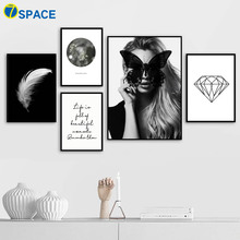 Vogue Woman Flower White Feather Diamond Wall Art Canvas Painting Nordic Posters And Prints Pictures For Living Room Deocr