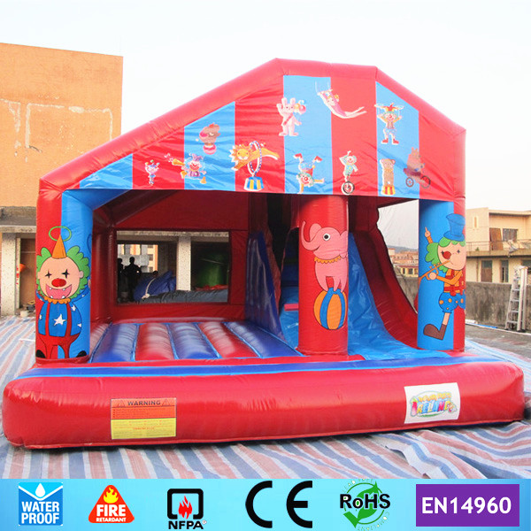Commercial Circus Inflatable font b Bouncer b font Castle Trampoline with Slide for kids