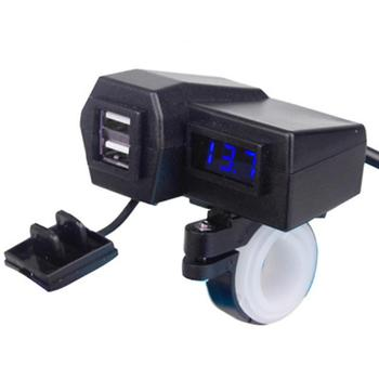Motorcycle Handlebar Mount 3.1A Dual USB Mobile Phone Charger Blue Lights Battery Voltmeter image