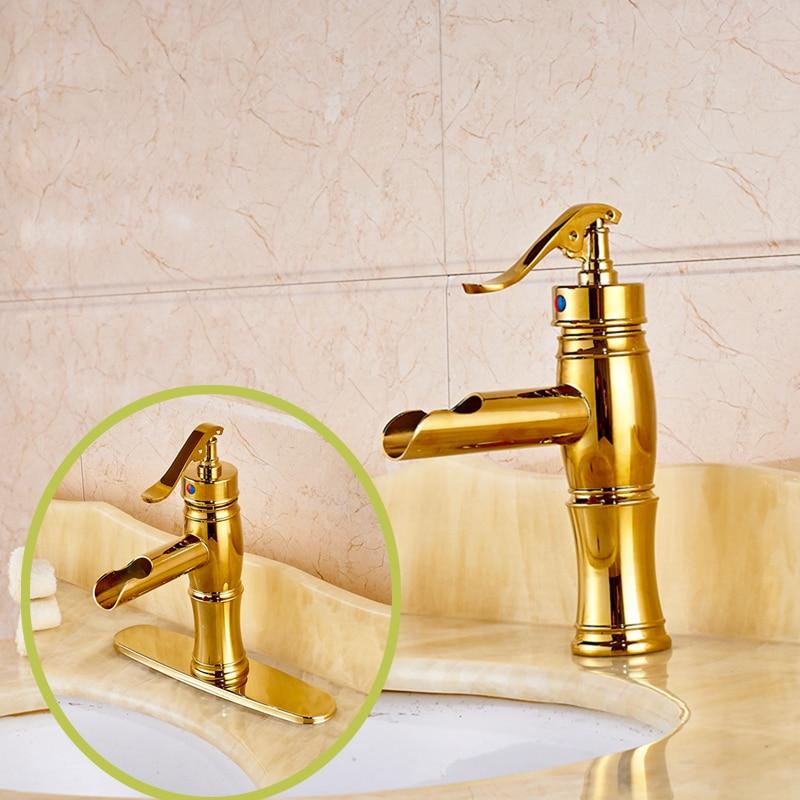 Golden Brass Waterfall Bathroom Water Pump Faucet Single Handle Hole Mixer Tap water pump spare part solt hole double side brass impeller wheel 65mm dia