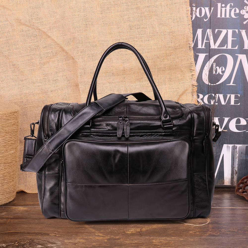 Vegetable tanning Leather Travel Bag Men Travel Duffel bag Cow Genuine Leather Carry On Luggage Weekend large shoulder Bag