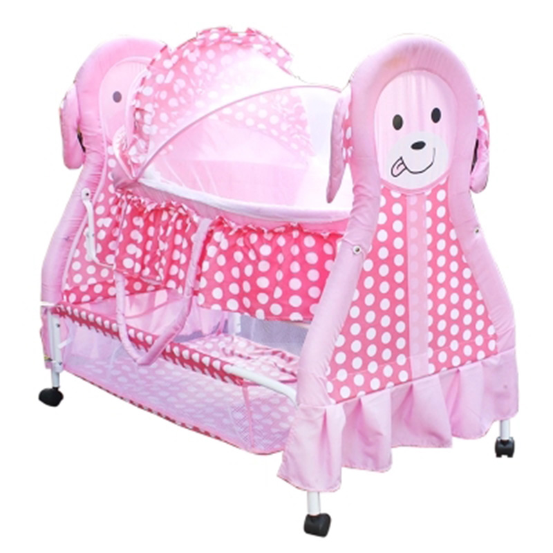 Newborn Crib Cradle Bed Sleeping Basket Multi-function Cute Bb Small Bed With Roller