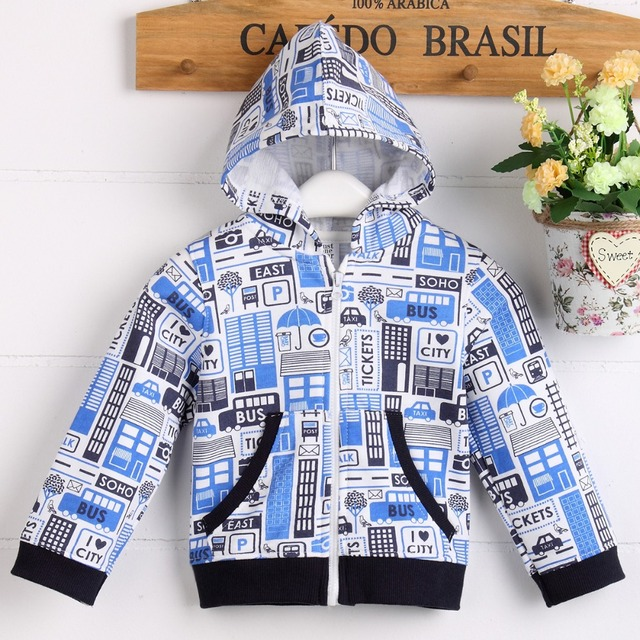 high quality free shipping baby Boy jacket cotton 100 with cute print pattern B05