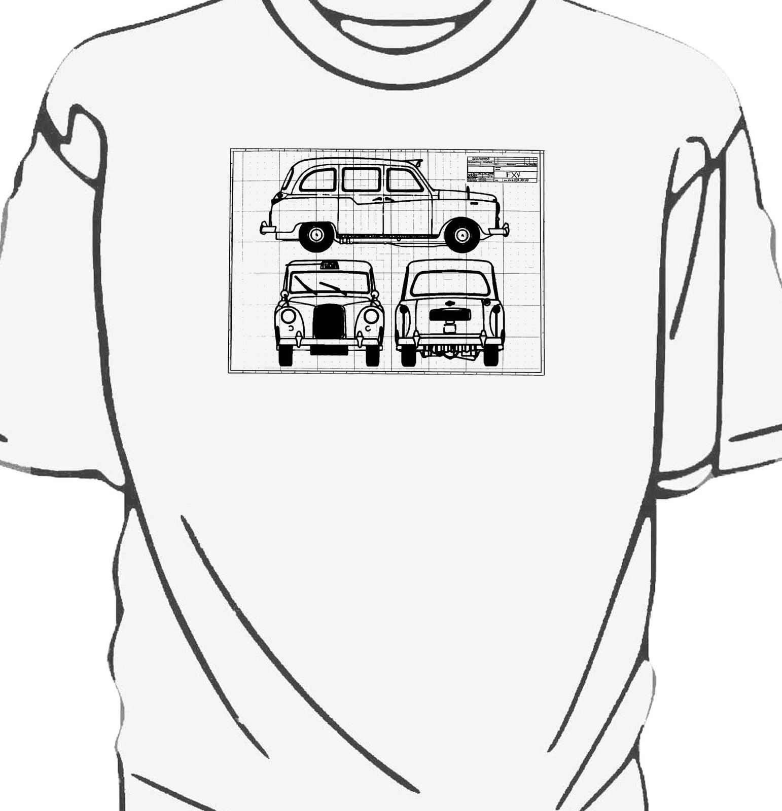 London Black Cab. FX4 taxi Blueprint style t-shirt