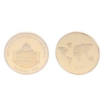Commemorative Coin Plated Taj Mahal India Golden Souvenir Art Collection Gifts