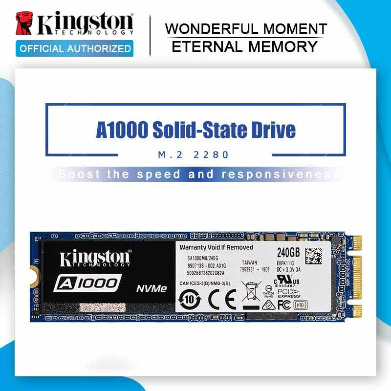 Kingston 240G 480G 960G A1000 NVMe M.2 SSD Internal Solid State Hard Disk NVMe SSD For PC Notebook Ultrabook