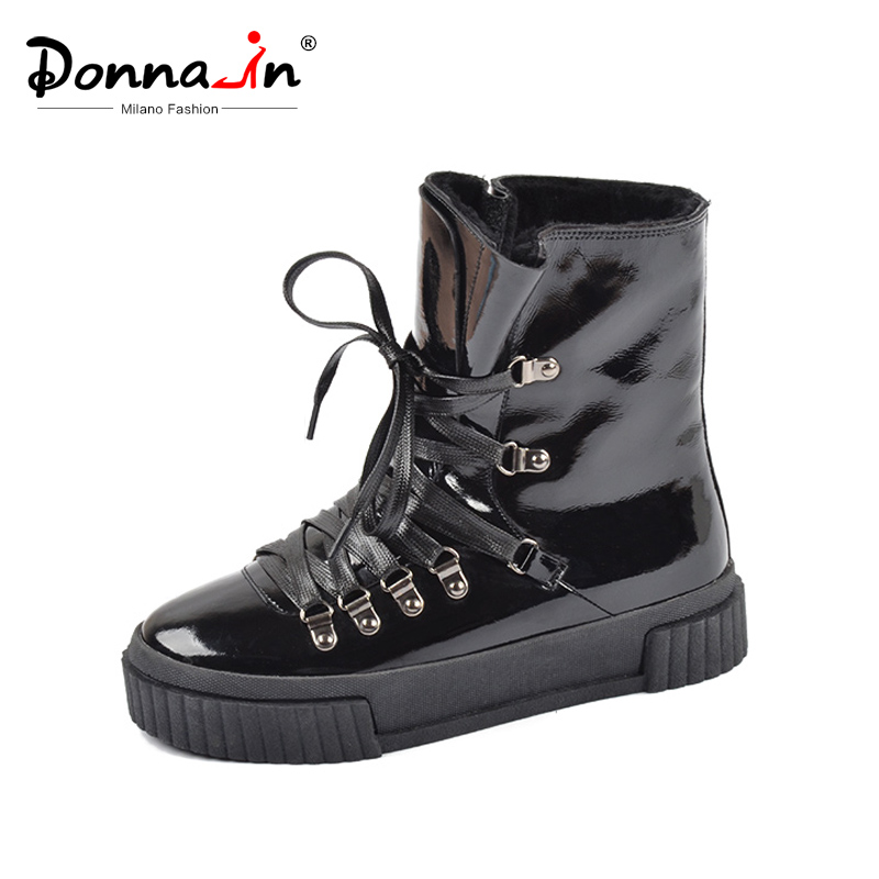 Donna-in 2019 nueva moda de invierno botas de tobillo de cuero de mujer plataforma de tacón alto de encaje corto Pulsh caliente femenino botas zapatos de mujer Zapatos