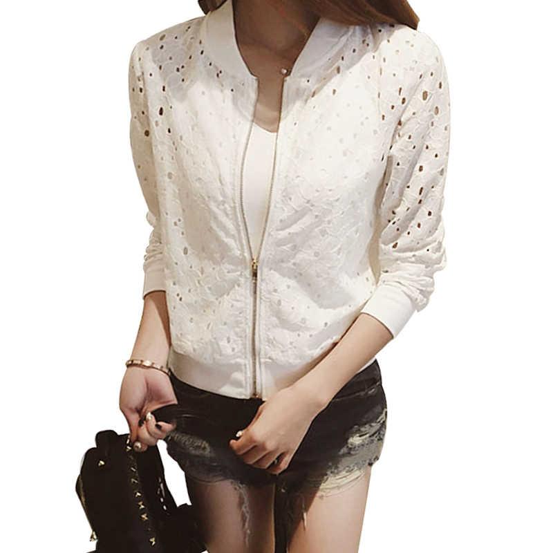 Тонкий для женщин летнее пальто куртка кружево с длинным рукавом для защиты от солнца Женская одежда выдалбливают дышащий курточка бомбер черный, белый цвет