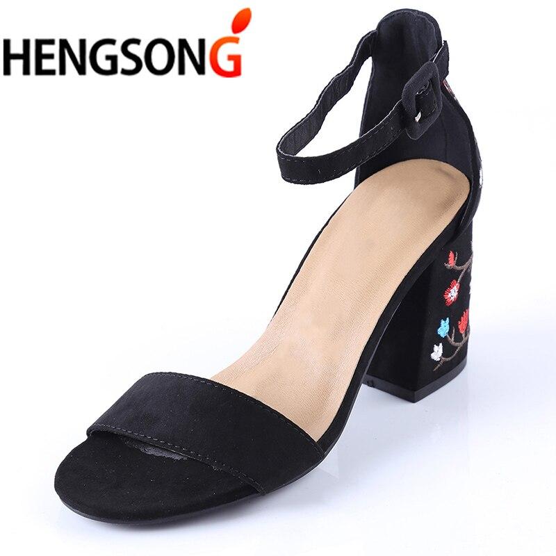 HENGSONG женские босоножки с вышивкой на высоком каблуке женские босоножки в этническом стиле цветочный sandalias muje обувь для вечеринок Zapatos Mujer tr913149
