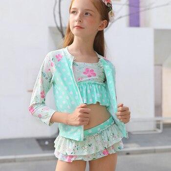 Nuevos trajes de baño de 4 Uds para niñas (trajes de baño de manga larga a prueba de sol + juegos de Bikini + gorra) traje de baño para niños