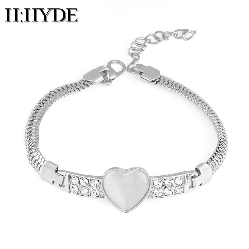 H:HYDE Vintage Heart Shape Natural Stone Opal Cham bracelet & Bangles For women fashion  ...