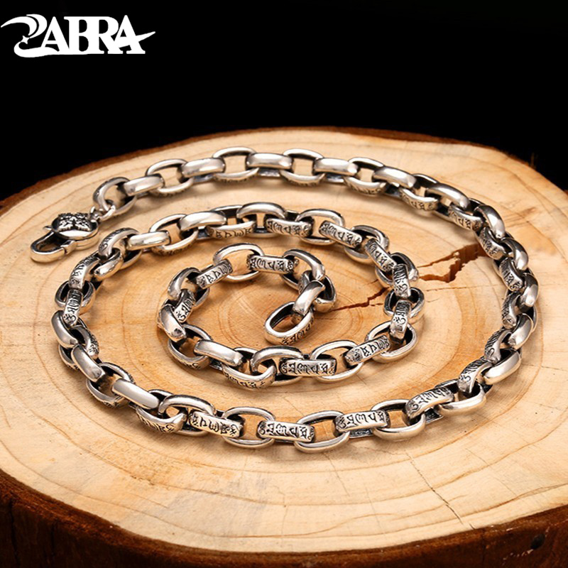 ZABRA Religion Solid 925 Sterling Silver Necklace Men Buddhism Mantra 60cm Length Chain Punk Retro Style