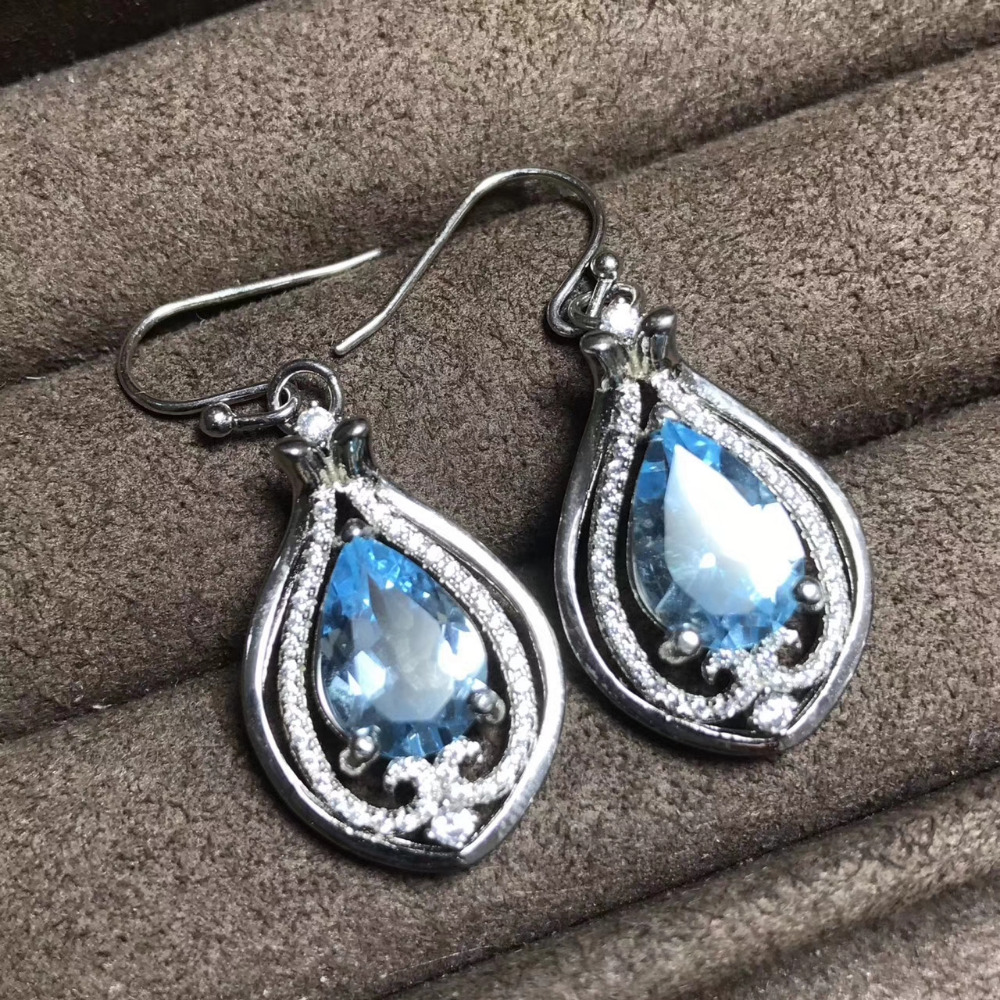 Natural 8*12mm blue topaz drop earrings 925 silver natural gemstone earrings Chinese style water drop women party fine jewelry vintage 925 silver topaz drop earrings for party 5 mm 7 mm natural topaz silver earrings steriling silver topaz jewelry